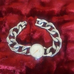 Anne Klein silver heavy link bracelet watch